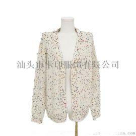 V领彩色圆点女式T恤长袖设计毛衣外套KY-372