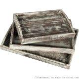 定做松木托盤復古碳化木質餐盤麪包托盤定製咖啡木盤