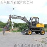 新疆硬土輪式挖機 捷克80駕駛輪胎式挖機 可定製