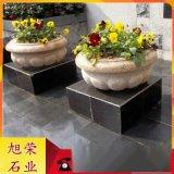石材花钵厂家 黄锈石花钵 福建市政道路景观雕塑