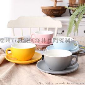红黄蓝绿色釉简约陶瓷咖啡杯碟