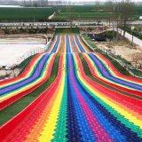 网红七彩滑道景区农庄彩虹滑道游乐设备吸引众多游客