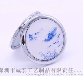 青花瓷镜子定制/**金属化妆镜/杭州景点化妆镜