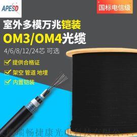 APESD光纜室外多模萬兆OM3/OM4光纖4/6/8/12/24芯鎧裝光纖線