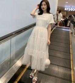2020夏季新款大码女装胖妹妹网纱拼接连衣裙