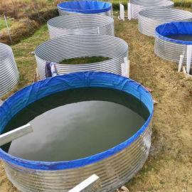 高密度养鱼养虾镀锌板帆布水池帆布池