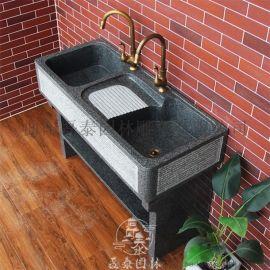 大理石洗手池庭院阳台洗衣池墩布池曲阳磊泰园林定制