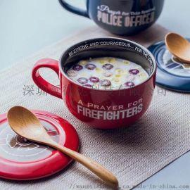 陶瓷带盖色釉汤杯可定制图案和文字logo