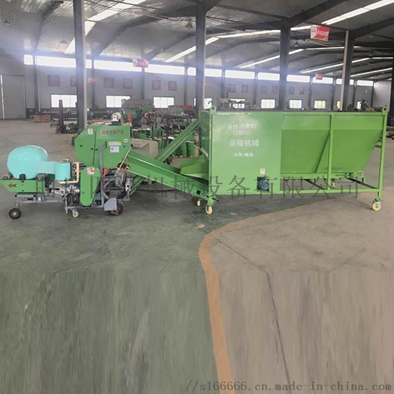 全自动青储打捆机 牧草全自动包膜机 圆捆青贮包膜机
