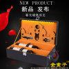 義烏包裝 新款帶燈光雙支紅酒盒 PU皮葡萄酒包裝箱