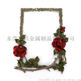 定做锌合金相框摆件 玫瑰花金属合金相框