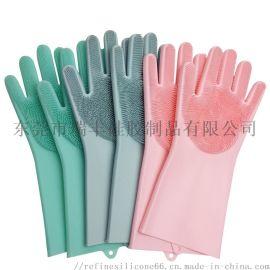 硅胶家用手套 宠物洗澡手套 硅胶魔术洗碗手套带刷子