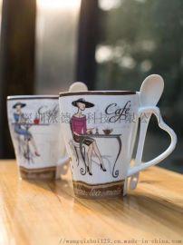 新骨瓷插勺带盖烤花咖啡杯可定制图案