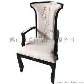 新中式餐椅实木布艺印花扶手椅现代简约餐厅吃饭椅子