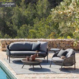 欧凯森 户外家具藤椅五件套休闲阳台庭院露台桌椅