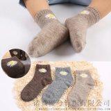 秋冬新品儿童羊绒襪小雏菊羊毛羊绒保暖男  羊毛襪