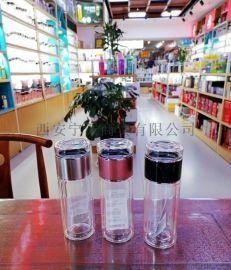 西安保温杯双层玻璃杯 免费刻字水杯定制