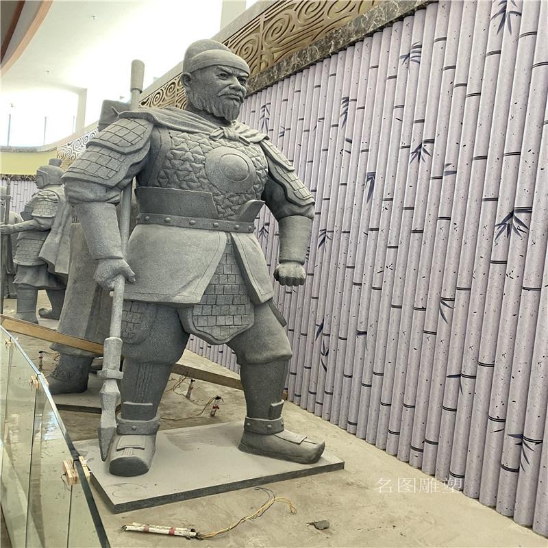 玻璃钢古代人物雕塑 云浮室内武士人物雕塑展厅摆件