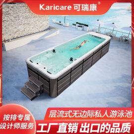 室内外花园天台无边际游泳池豪华家用无尽头泳池