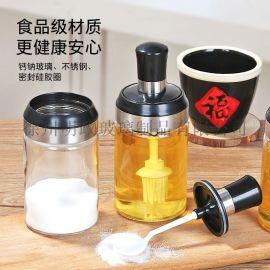 勺盖一体调料盒厂家装盐鸡精糖辣椒粉胡椒粉无铅玻璃