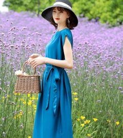 批发2020夏季新款桑蚕丝连衣裙女高端真丝双乔缎宽松大码中长裙