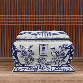 景德镇陶瓷骨灰盒 青花仙鹤殡葬用具 殡仪馆骨灰坛