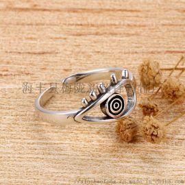 925纯银恶魔之眼戒子复古泰银个性小众设计精致食指戒指ins潮网红