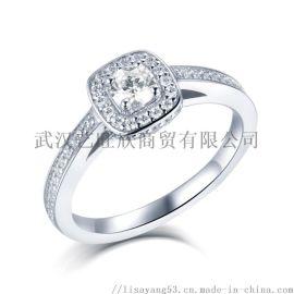 新款戒指女925纯银饰品经典方形排钻