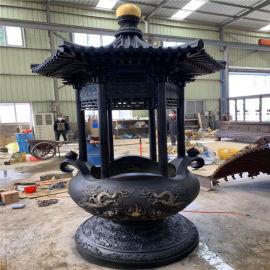 铸铜圆形香炉定做 铜雕圆形平口香炉制造厂家