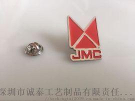 厂家直销红色员工胸章定制,电镀胸章制作