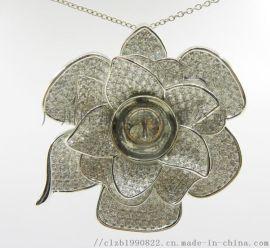 爆款银拖厂家  镶嵌宝石珍珠蜜蜡水晶戒面拖银饰戒托大尺寸珠子吊坠托