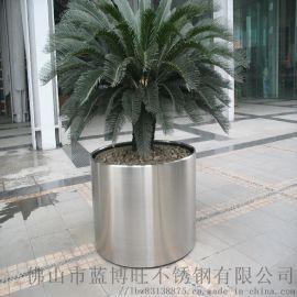 酒店大厅不锈钢装饰花盆 玫瑰金拉丝工艺花盆