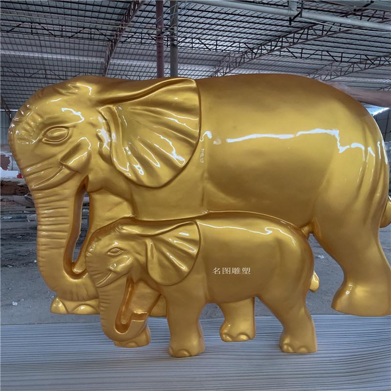 玻璃钢大象雕塑 楼盘景观动物雕塑美陈装饰