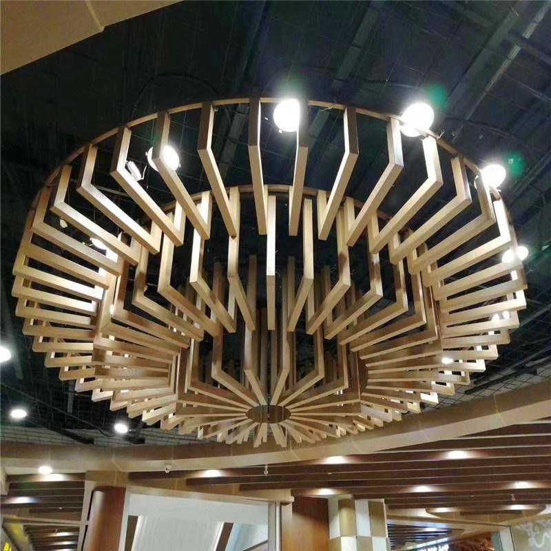 美食园弧形铝方通背景墙 名仕园波浪铝方通吊顶