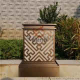 古銅色柱頭燈電鍍仿雲石落地燈別墅庭院草坪燈