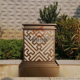 古铜色柱头灯电镀仿云石落地灯别墅庭院草坪灯
