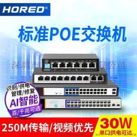 poe供电AI智能交换机 深圳HORED交换机 钢壳散热交换机
