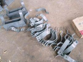 D3双孔短管夹 镀锌扁钢管夹 基准型双孔管夹