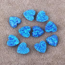 OP05藍色桃心人造澳寶 合成歐泊蛋白石首飾裸石