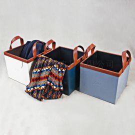 皮质收纳箱 手提储物箱 皮革整理车载箱子