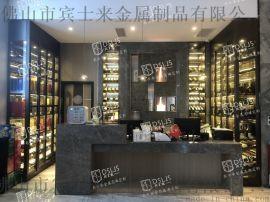 福州酒店拉絲玫瑰金紅酒不鏽鋼酒櫃定制設計廠家
