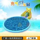 浙江金華景區遊樂場充氣移動水上樂園好多遊客玩耍