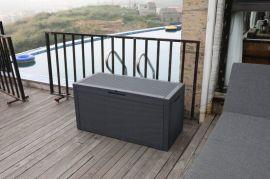 户外室外花园庭院塑料编藤储物箱防水防紫外线收纳箱
