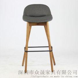 高脚吧椅 实木北欧风吧台椅 时尚会客高脚椅