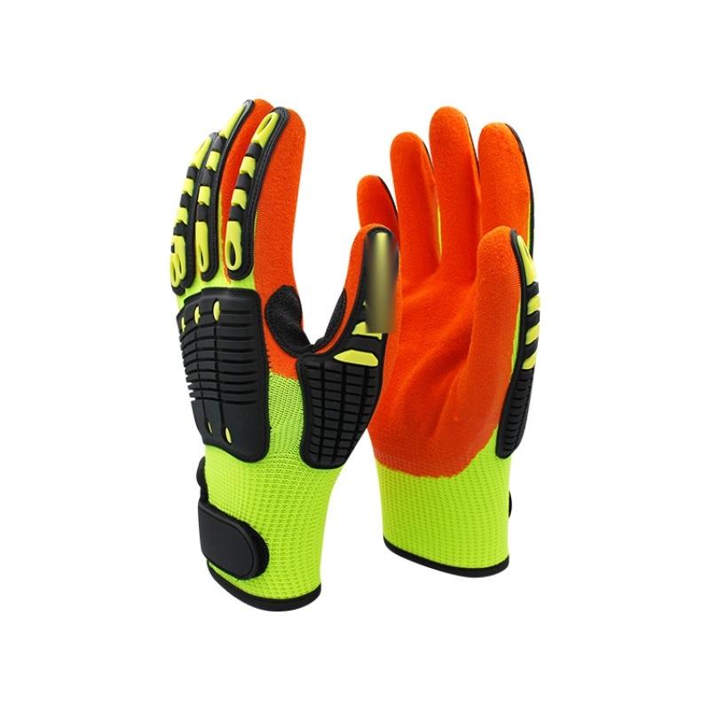 熒光黃+橘色丁腈磨砂抗衝擊tpr加強耐磨防撞手套