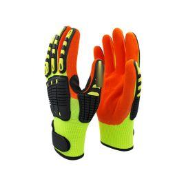 荧光黄+橘色丁腈磨砂抗冲击tpr加强耐磨防撞手套