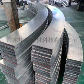铝合金不规则弧形折弯焊室内木纹大堂铝方通方管