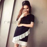 韓版街拍風時尚撞色 雪紡拼接不規則下襬純色連衣裙