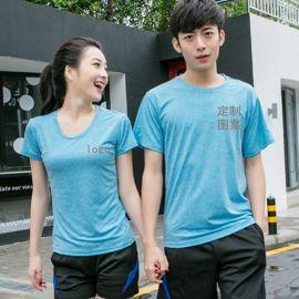 休闲户外运动纯色夏款炫彩冰丝男女款短袖圆领T恤薄款DIY印字LOGO