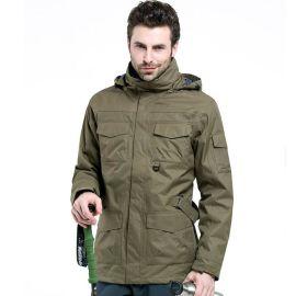 新款户外冲锋衣男滑雪服三合一抓绒衣两件套登山服钓鱼服定做logo